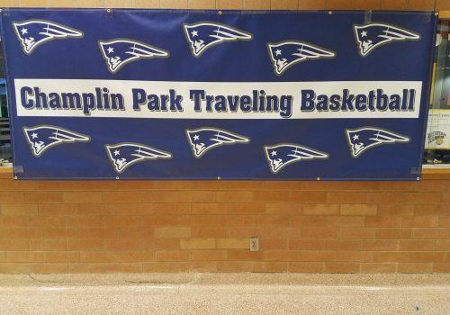 Backdrop banner; Champlin Park Traveling Basketball