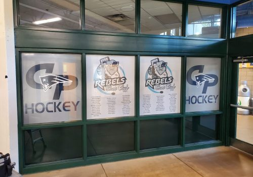 Perforated Window Graphics; Champlin Park Youth Hockey
